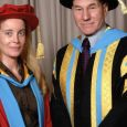 Charlotte di Vita MBE with Sir Patrick Stewart, Dean of Huddersfield University from whom she received her Honorary Doctorate in 2005. Sir Patrick Stewart became a 21st Century Leaders and presented his artwork to Charlotte at the University